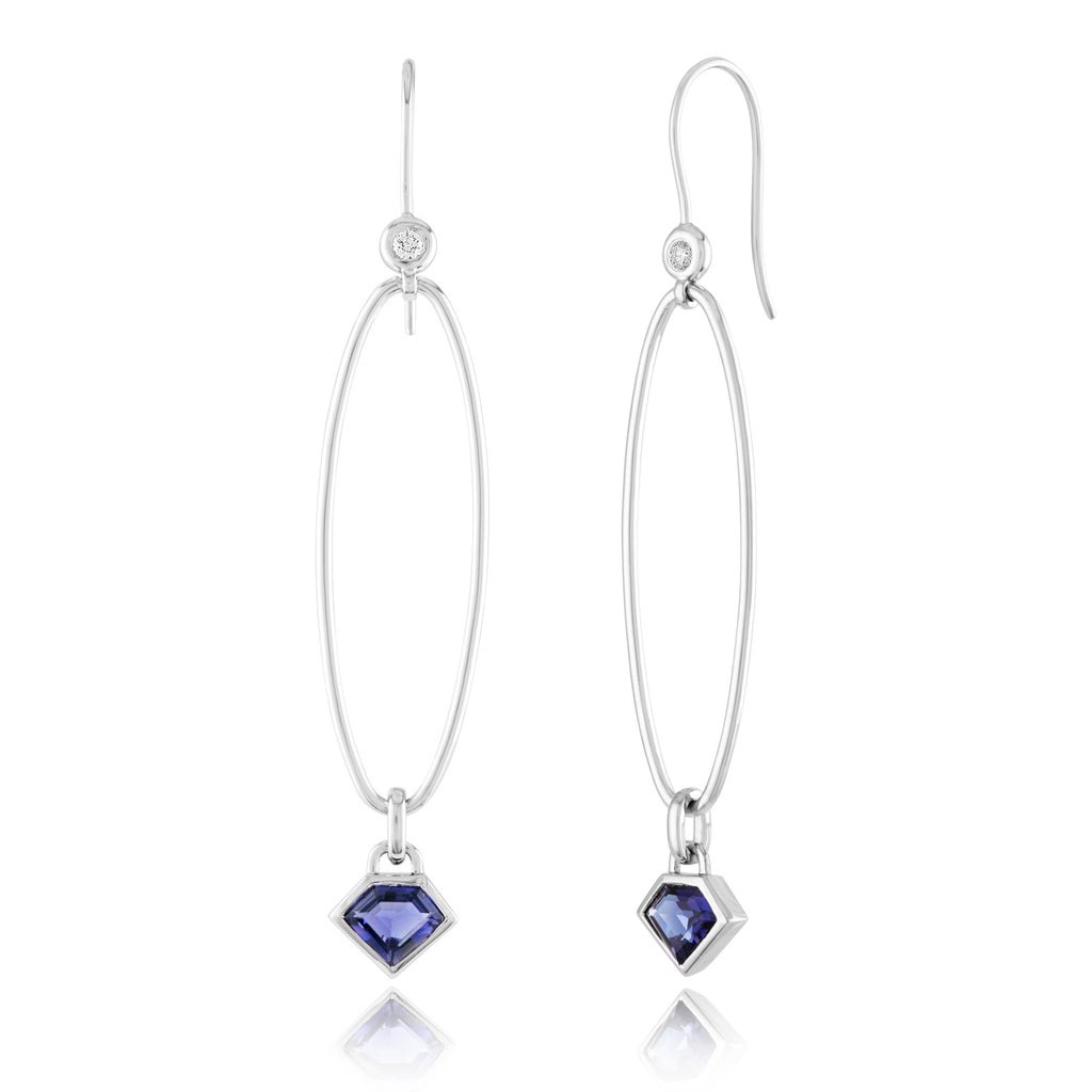 14K White Gold & Iolite Fly Thru Hoops