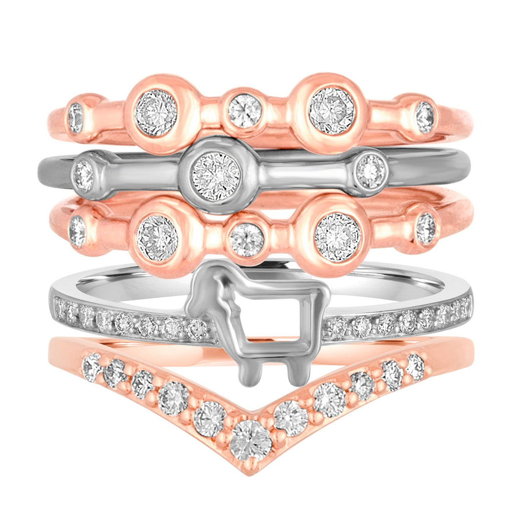14K Rose and White Gold Mariel Stack Trio