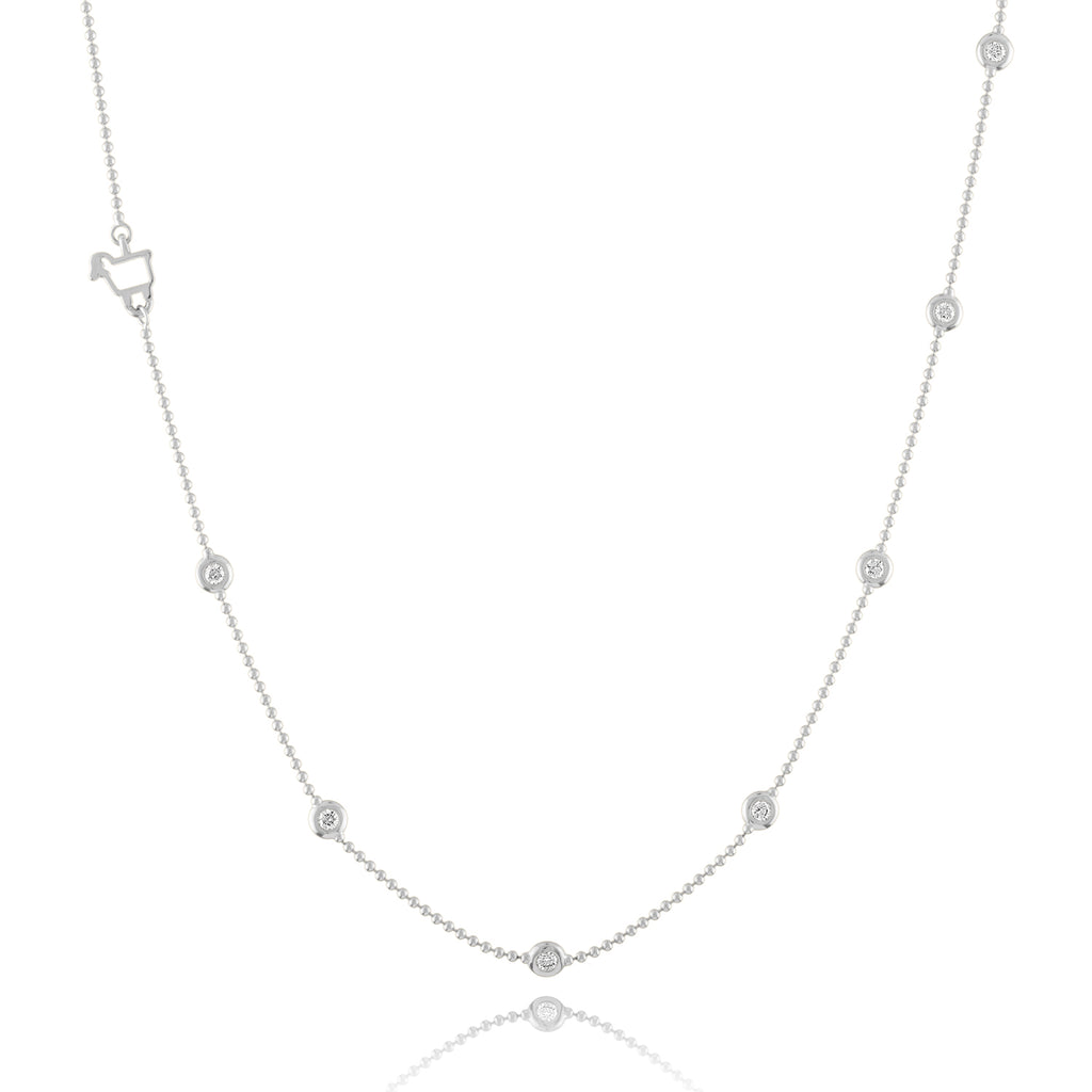 14K White or Rose Gold Bezels by the Yard Station Necklace