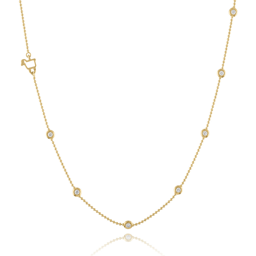 18K Yellow Gold Bezels by the Yard Station Necklace