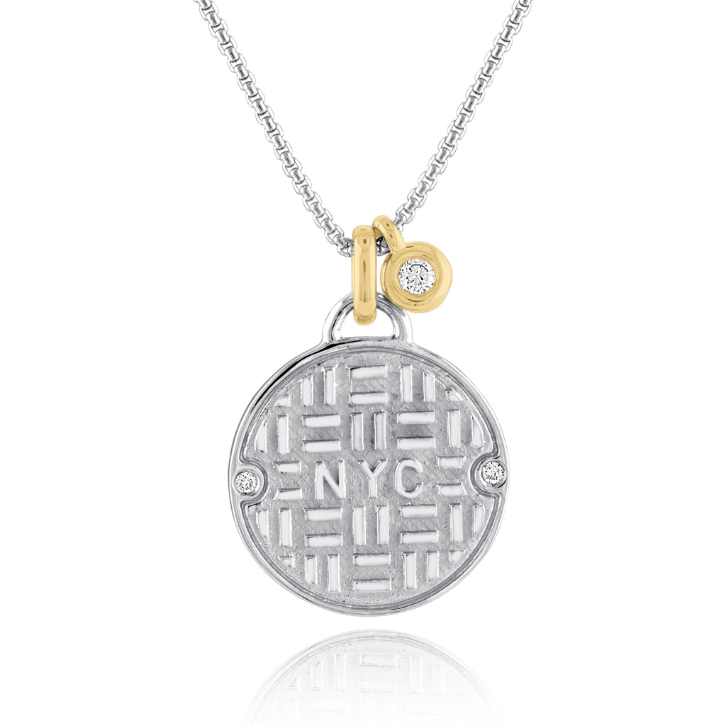 Two-Tone Sterling Silver and 18K Yellow Gold NYC Manhole Pendant