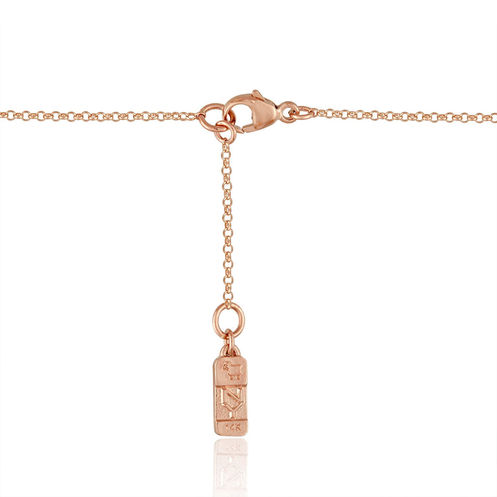 14K Rose Gold Super Mini Necklace with Rock Crystal and Flying Diamond