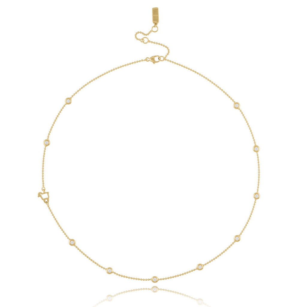 *18K Yellow Gold Bezels by the Yard Station Necklace