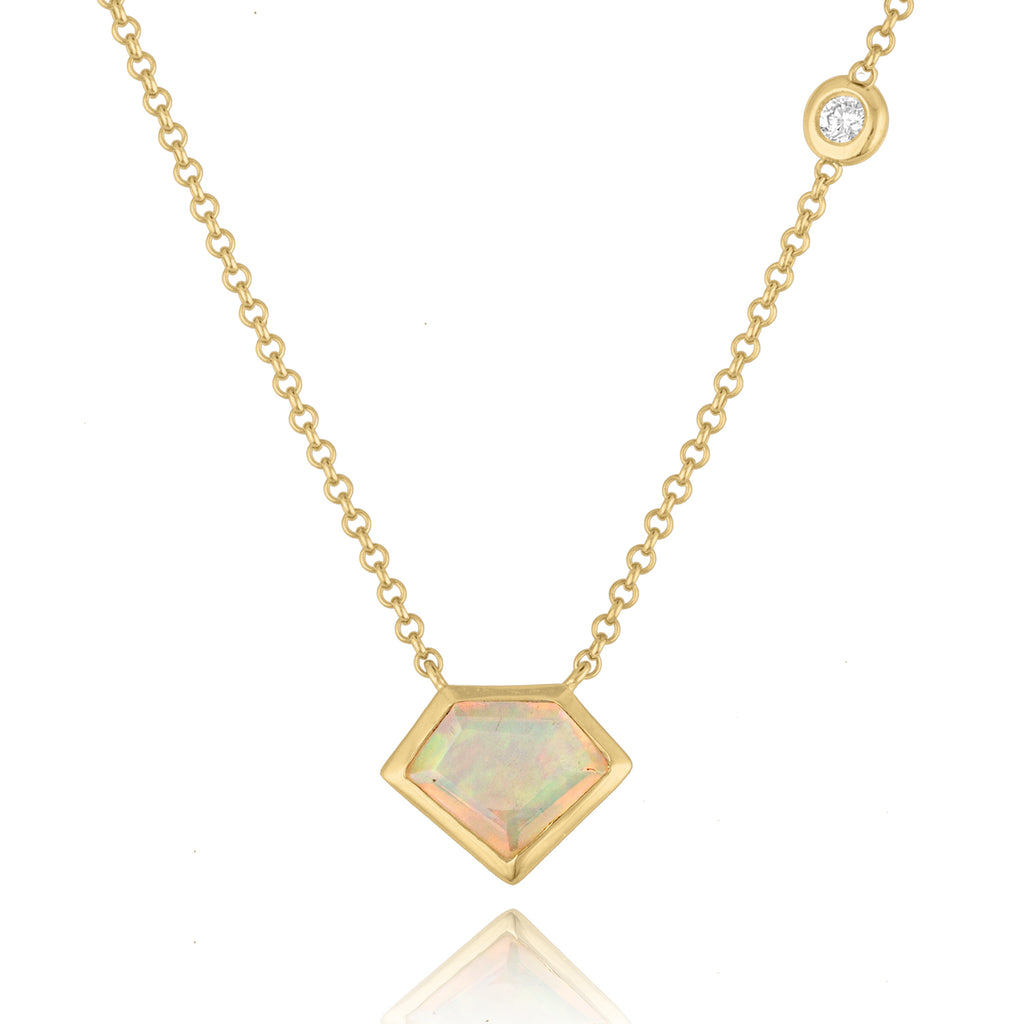 18K Yellow Gold Super Mini Opal Necklace with Flying Diamond