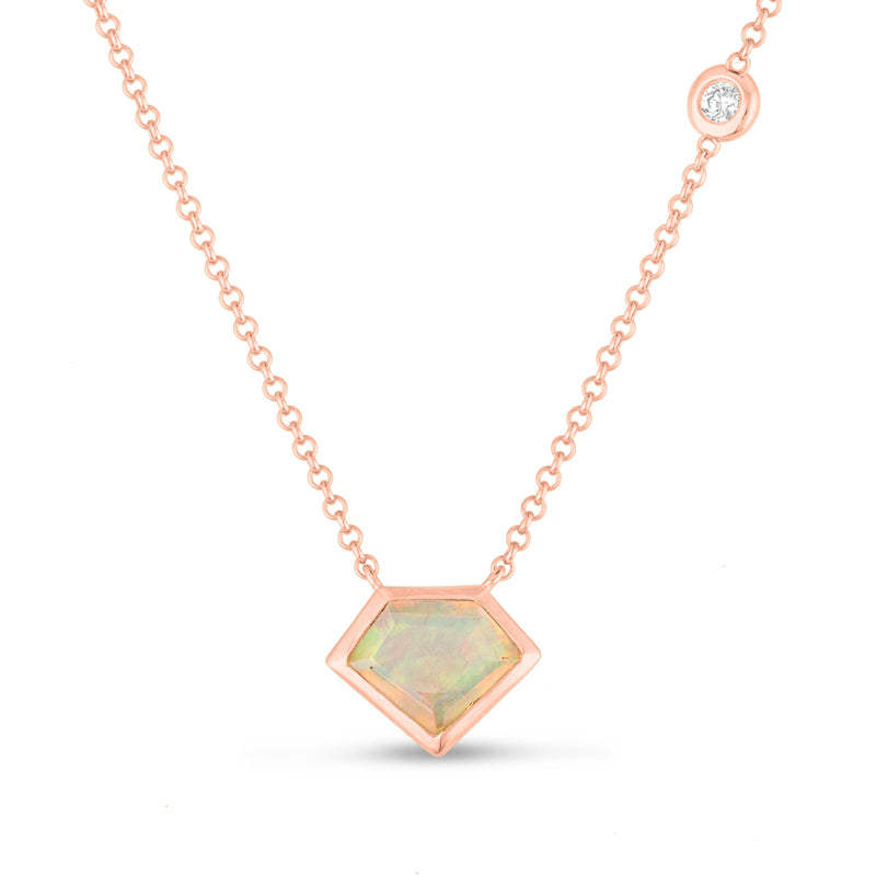 *14K Gold Super Mini Necklace with Flying Diamond in Opal