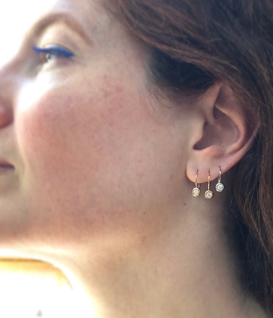 14K White or Rose Gold Signature Bezel Leverback Earrings