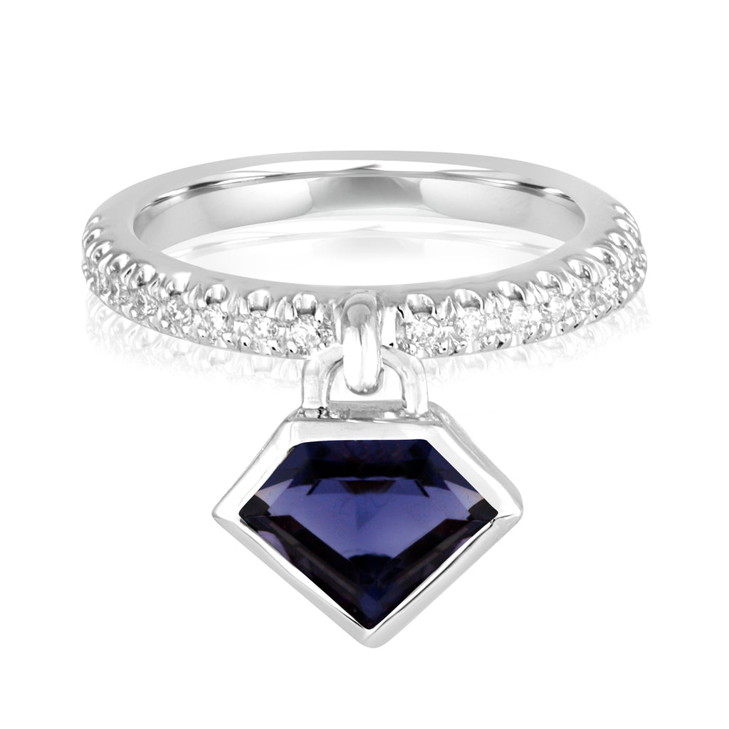 14K White Gold and Iolite Diamond Power Charm Ring