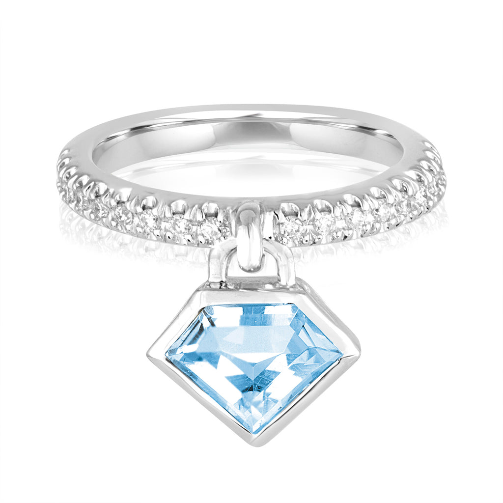 14K White Gold and Blue Topaz Diamond Power Charm Ring