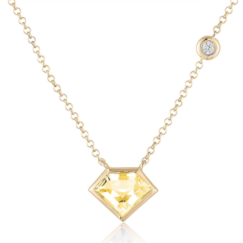 18K Yellow Gold Super Mini Necklace with Rock Crystal and Flying Diamond