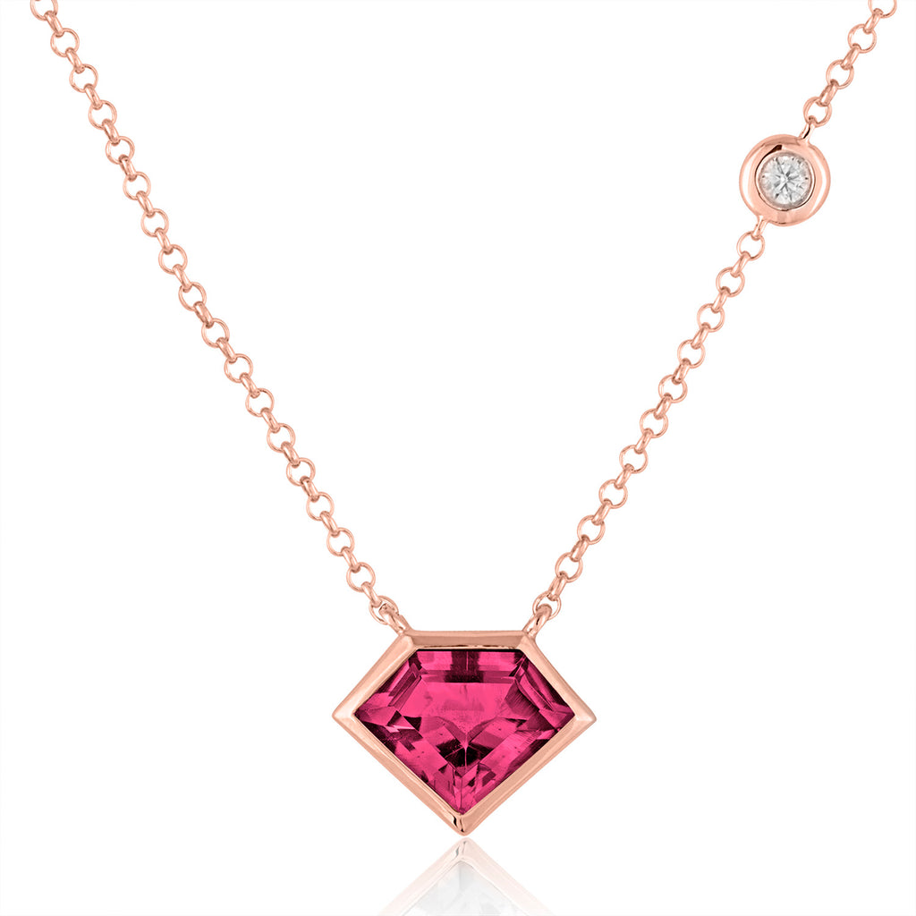 14K Rose Gold Super Mini Necklace with Rhodolite Garnet and Flying Diamond