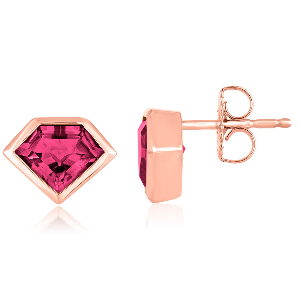 14K Rose Gold and Rhodolite Garnet Mini Super Stud Earrings