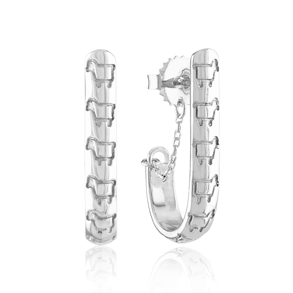 Sterling Silver Line Dance Hoop Earrings