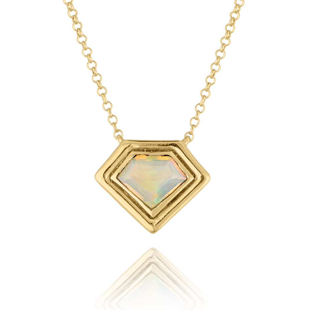 18K Yellow Gold Super Polished Opal Pendant
