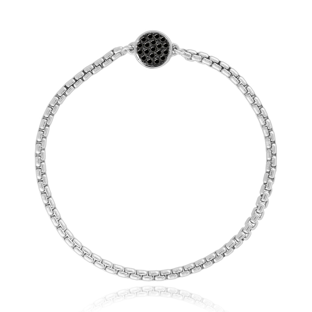 Sterling Silver Chain Bracelet with Pavé Diamond Magnet Clasp