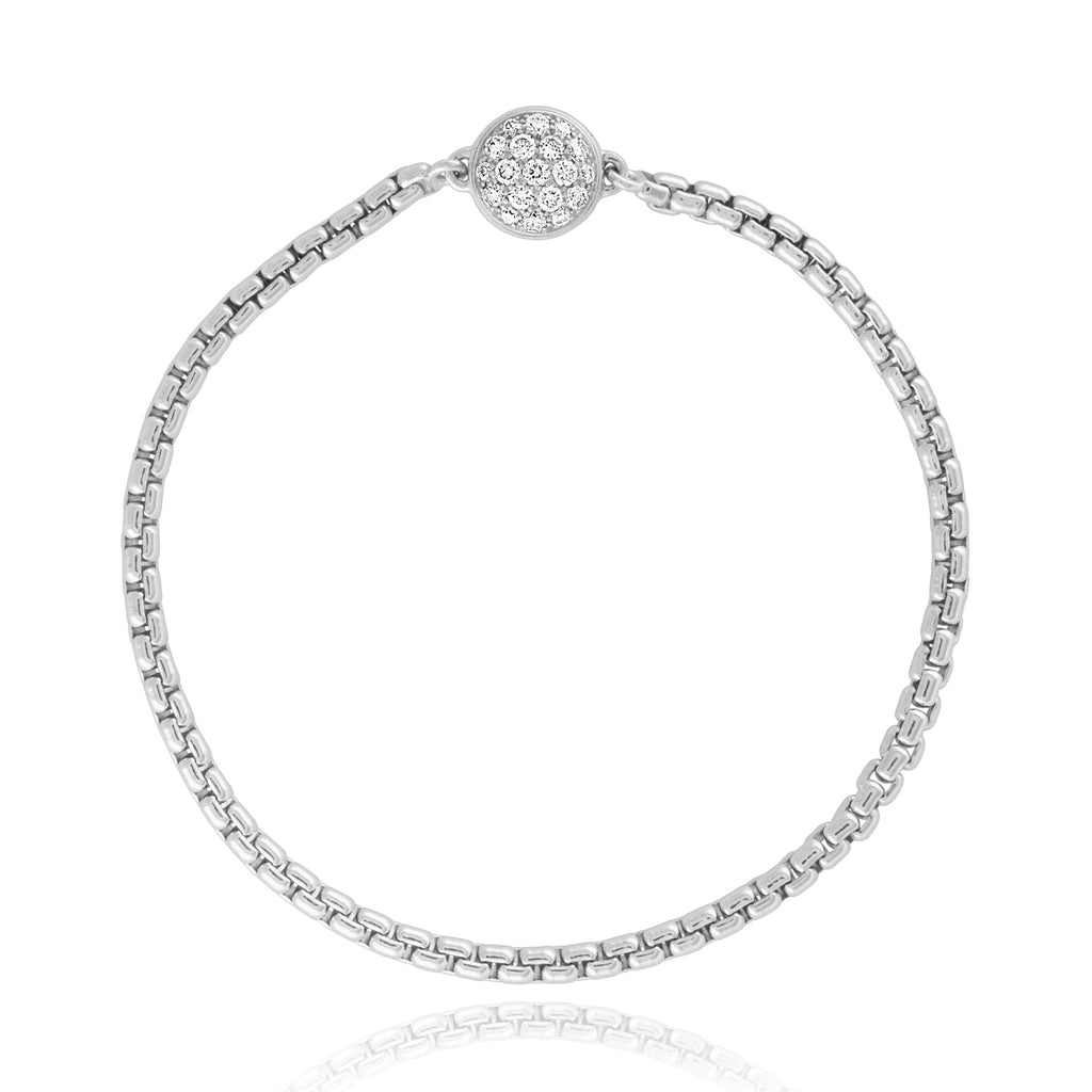 *Sterling Silver Chain Bracelet with Pavé Diamond Magnet Clasp
