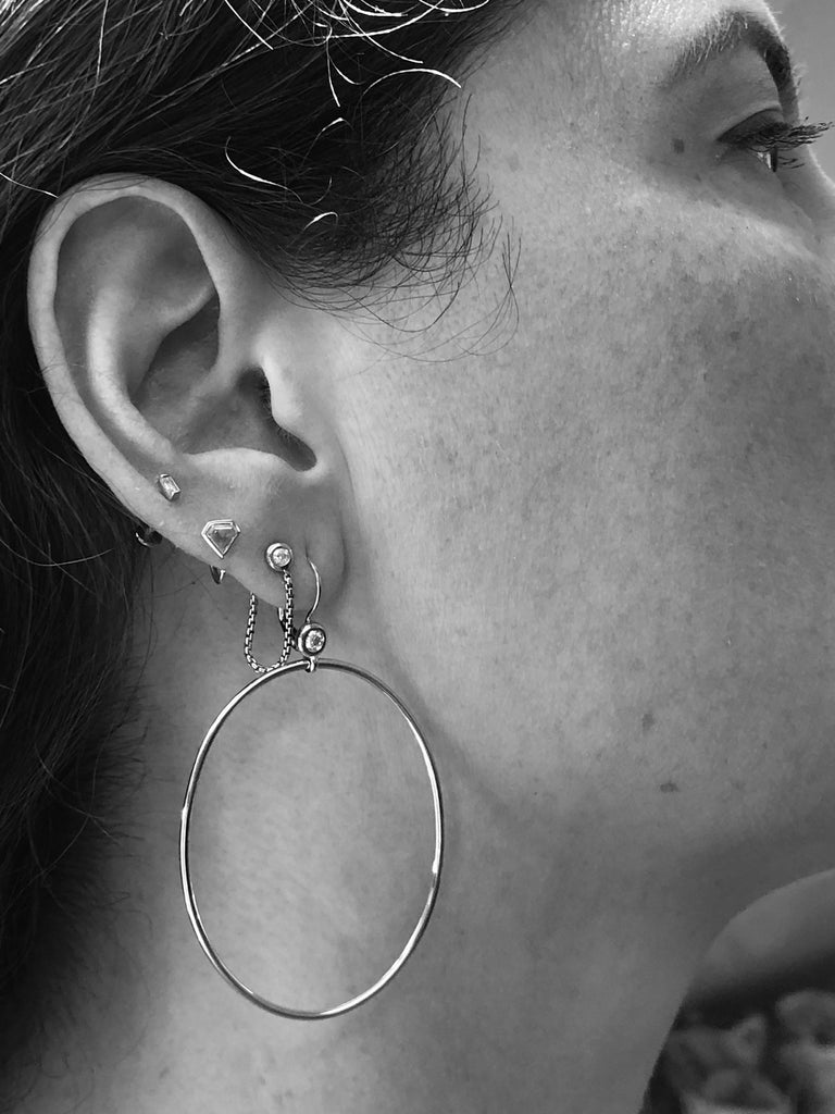 14K White Gold and Diamond Go To Girl Oval Hoop Earrings