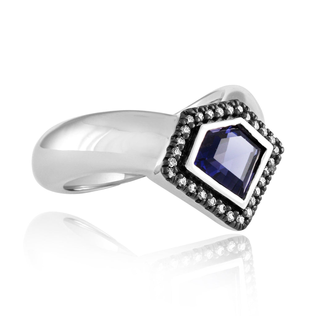 *14K White Gold Diamond Power Chevron Ring