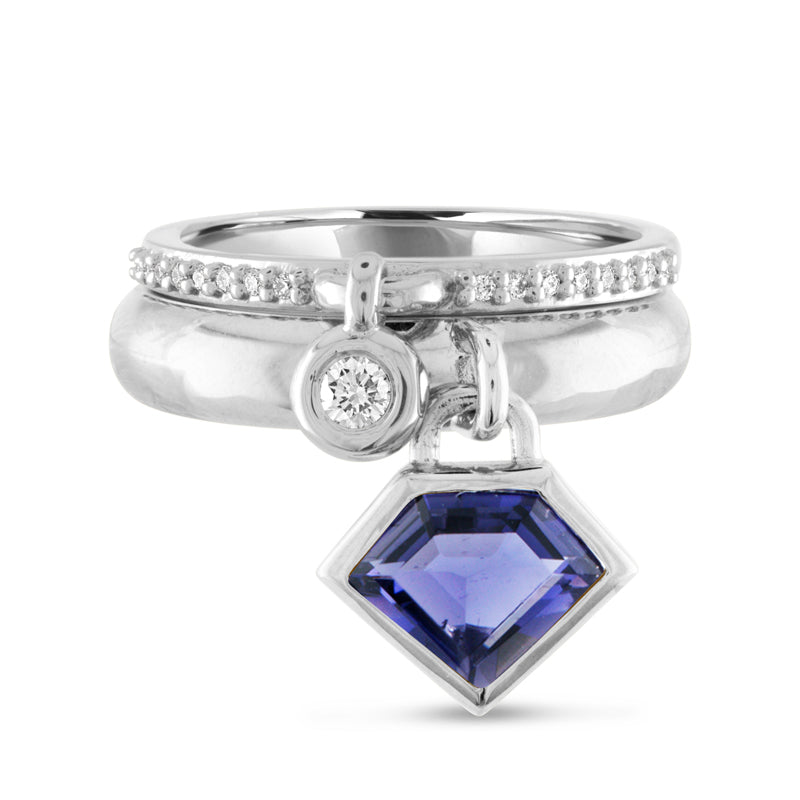 14K White Gold & Iolite Super Polished Charm Ring