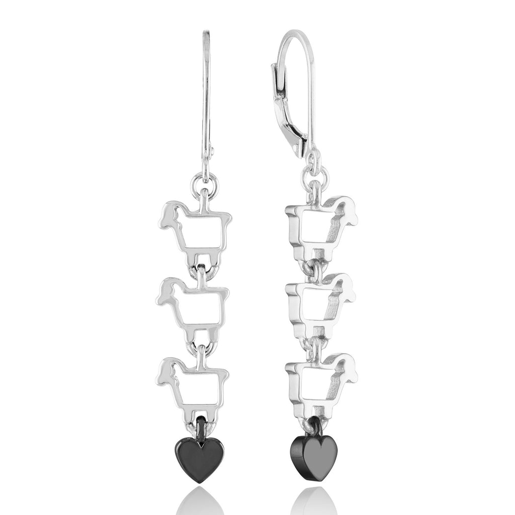 Sterling Silver Love Ewe Leverback Earrings