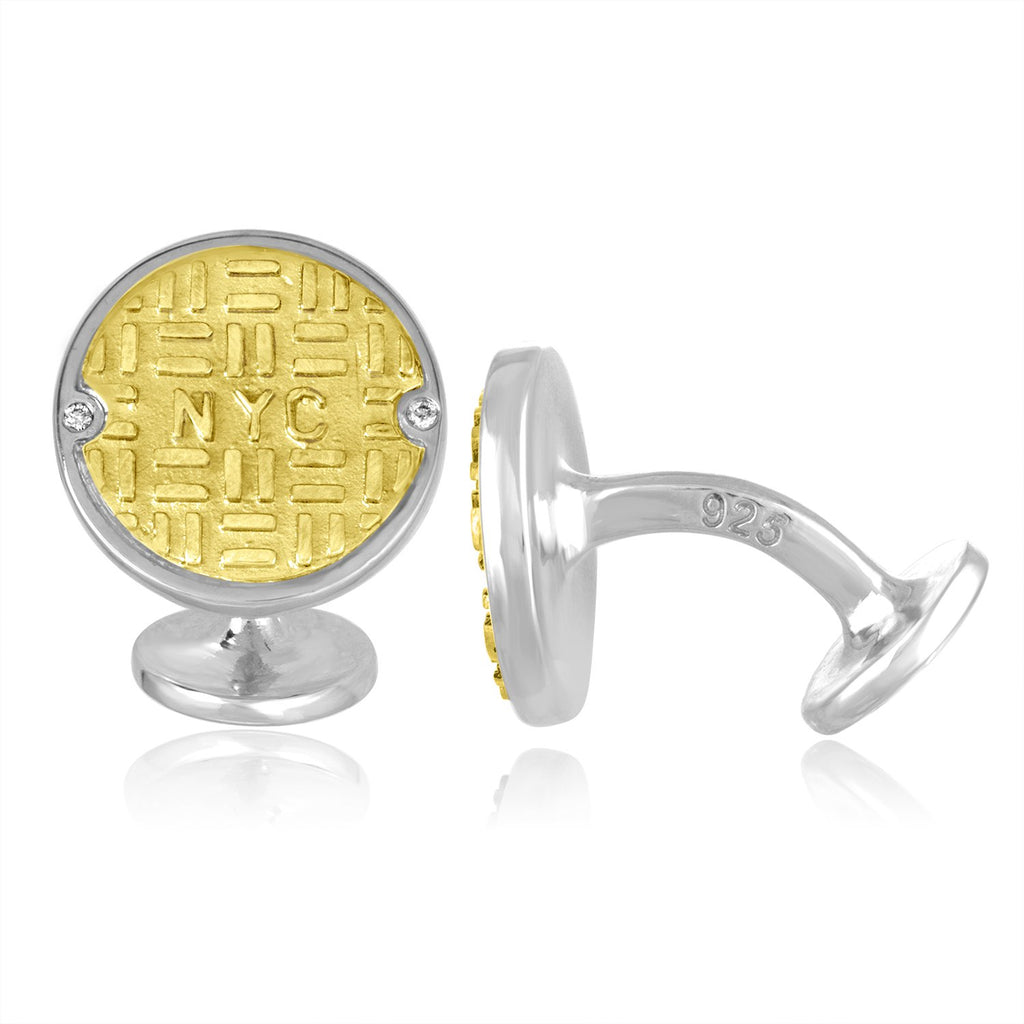18K Gold and Sterling Silver Manhole Cufflinks with Diamonds