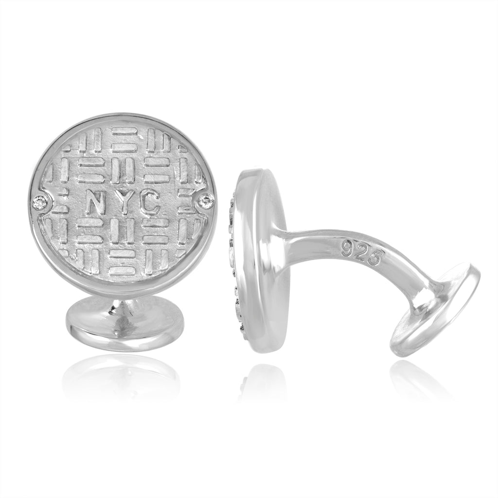 Sterling Silver Manhole Cufflinks with Diamonds