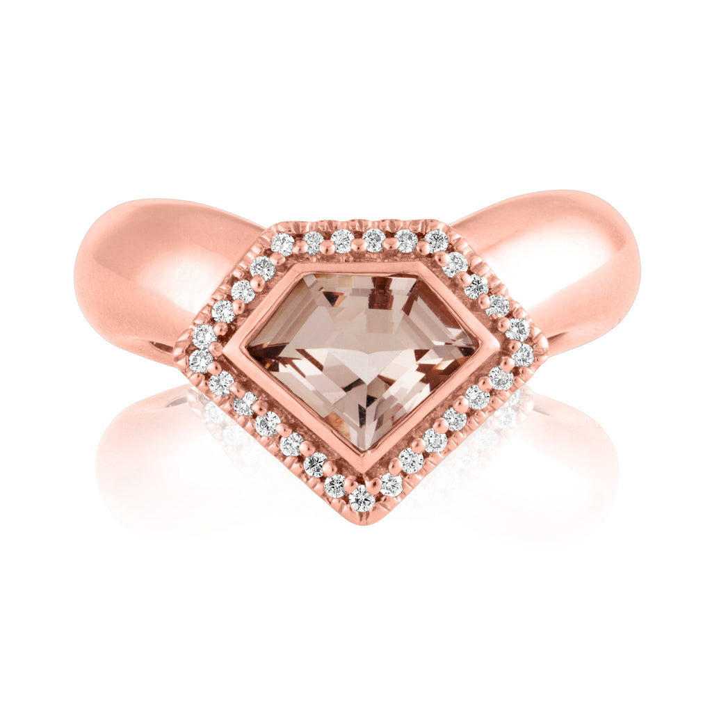 *14K Rose Gold Diamond Power Chevron Ring