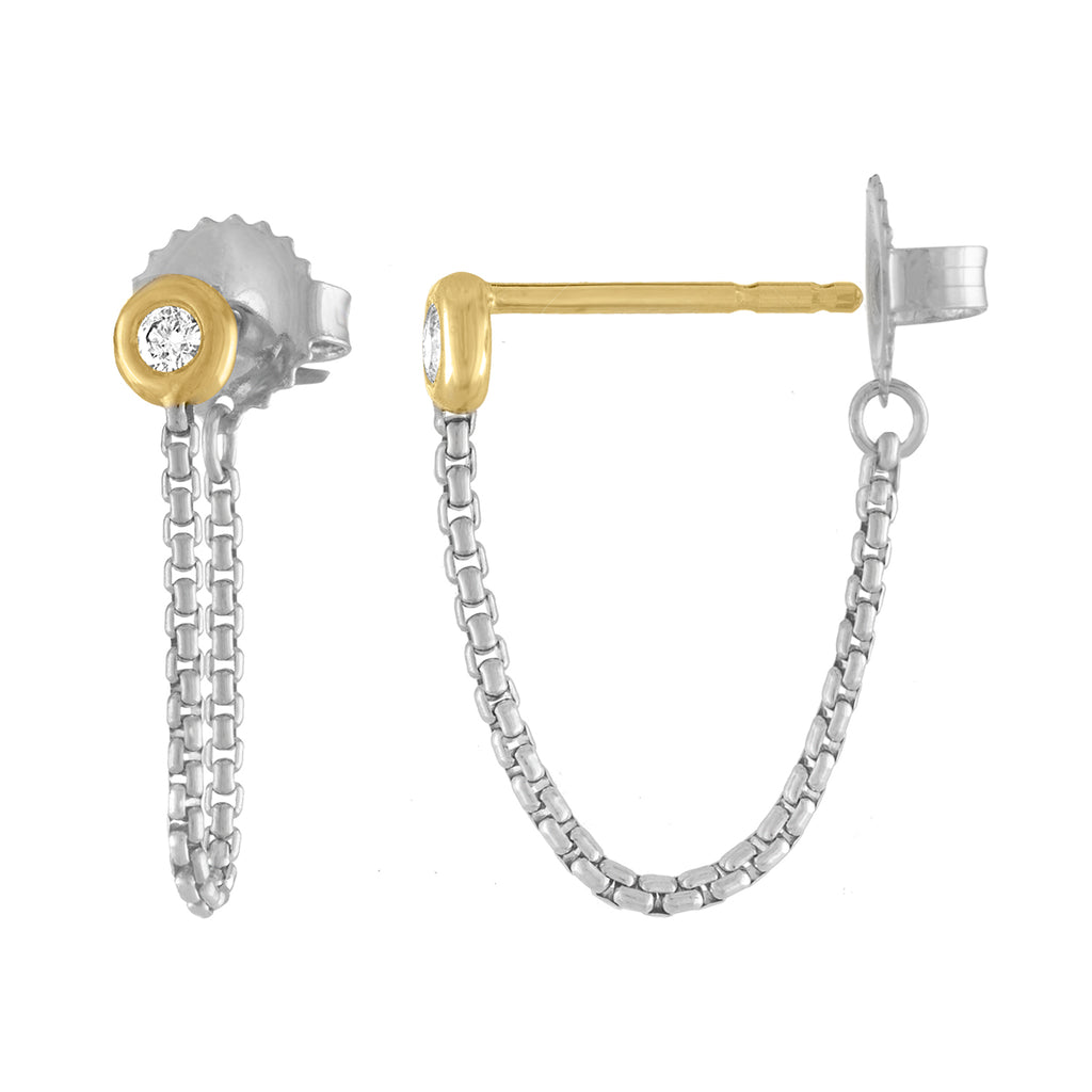 Sterling Silver and 18K Yellow Gold Shortcut Chain Earring