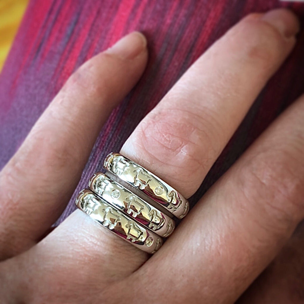Sterling Silver Line Dance Band Ring