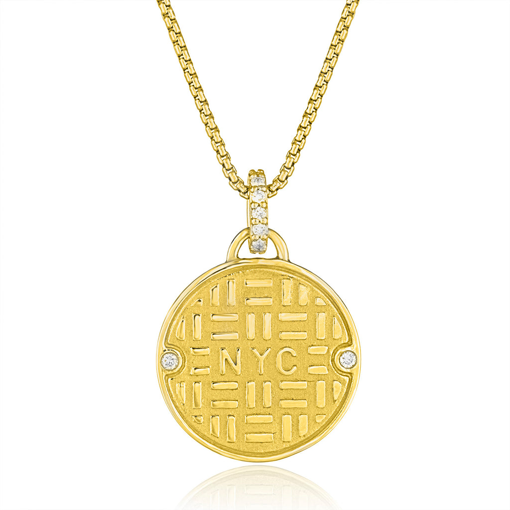 18K Yellow Gold Manhole Pendant