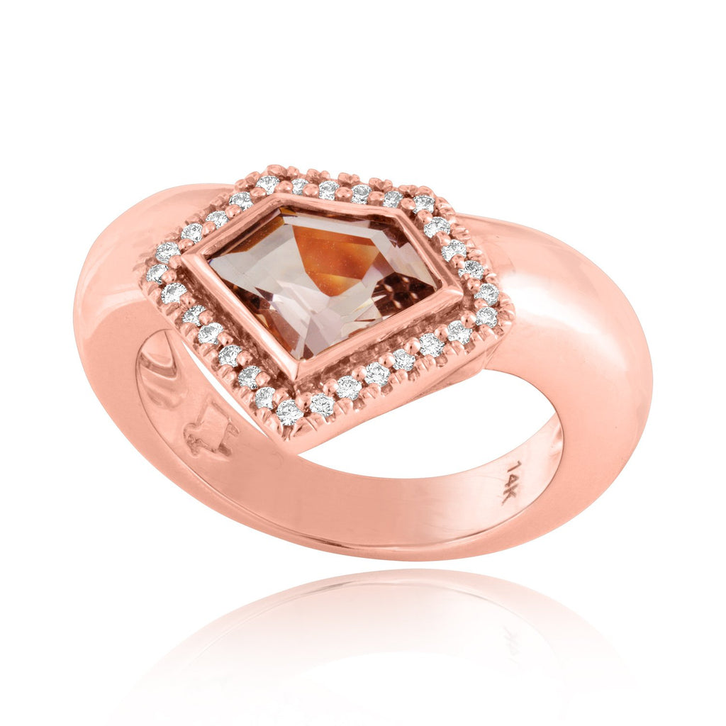 14K Rose Gold Diamond Power Chevron Ring