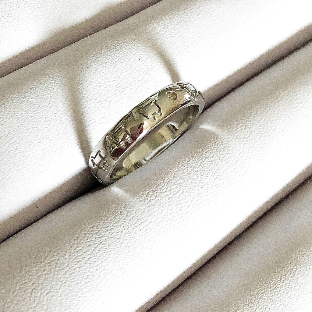 *Sterling Silver Line Dance Band Ring
