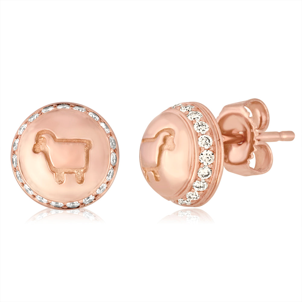 *14K Rose Gold Be Ewe Button Studs