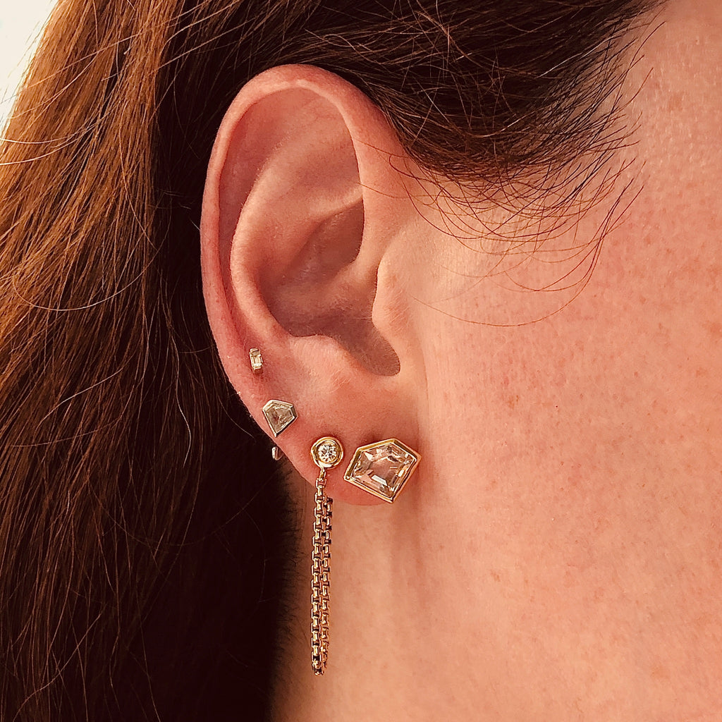 14K Rose Gold and Rock Crystal Mini Super Stud Earrings