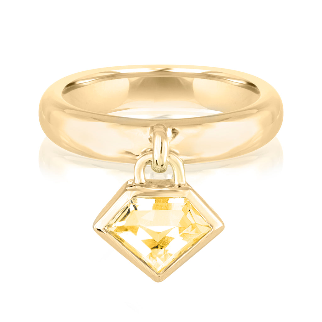 18K Yellow Gold Super Polished Charm Ring