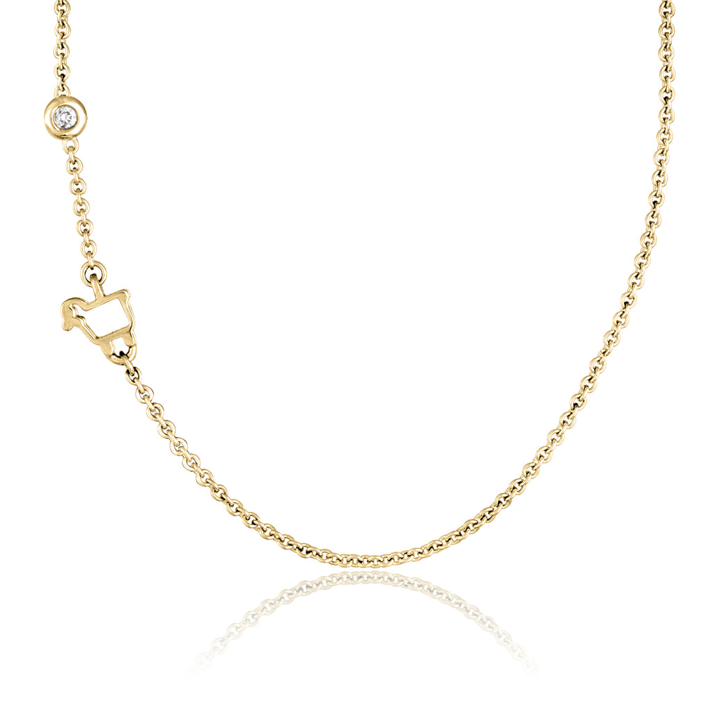 *18K Yellow Gold Mini Logo Necklace with Floating Diamond