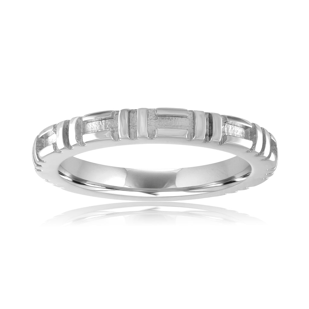 *14K White Gold City Stacking Band