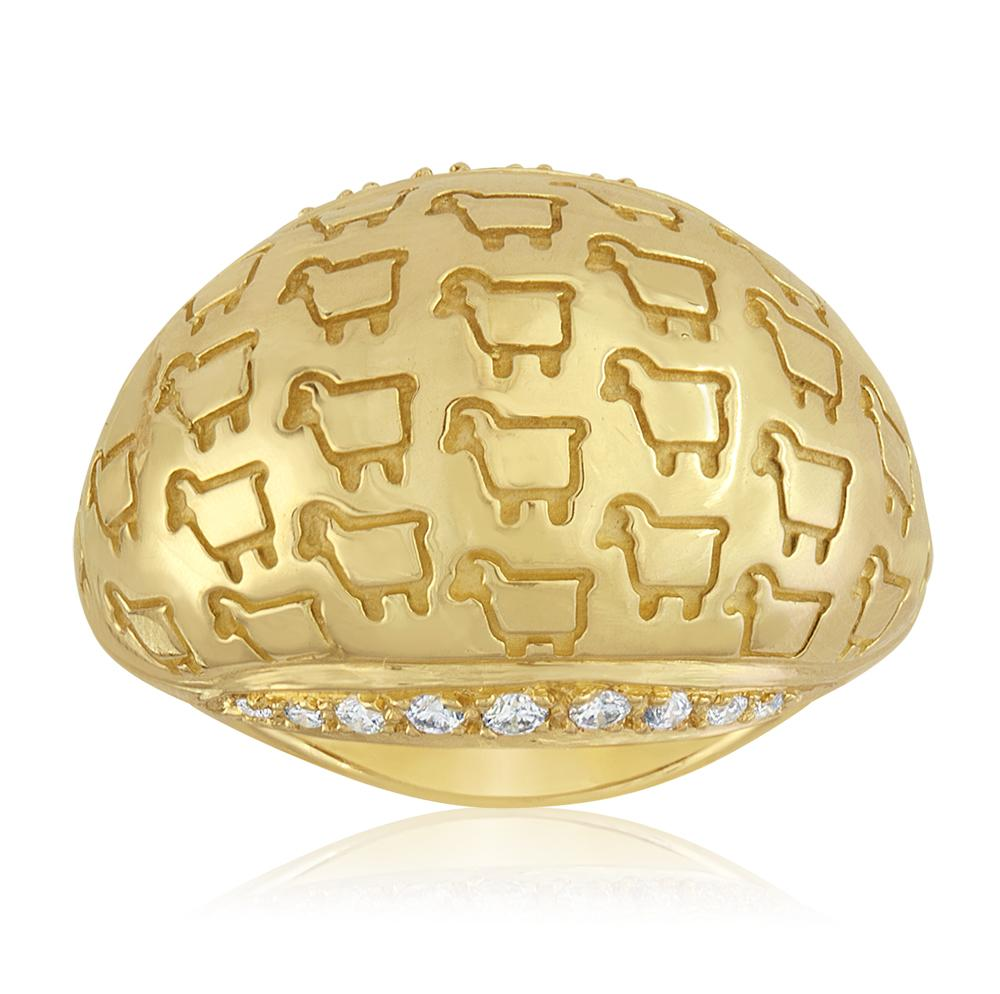 "18K Yellow Gold ""Be Herd"" Bombay Ring"