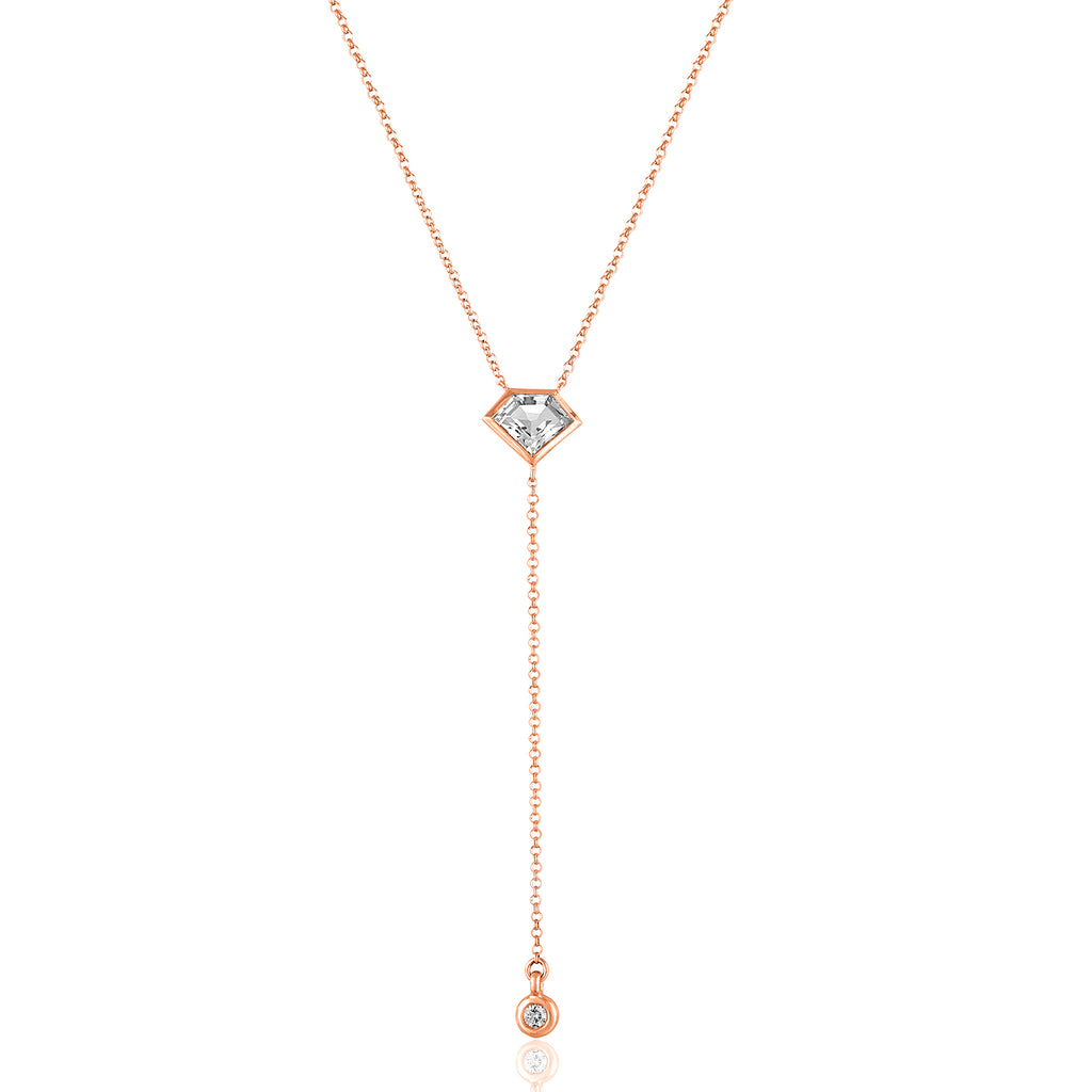 14K Rose Gold Lois Lariat Necklace