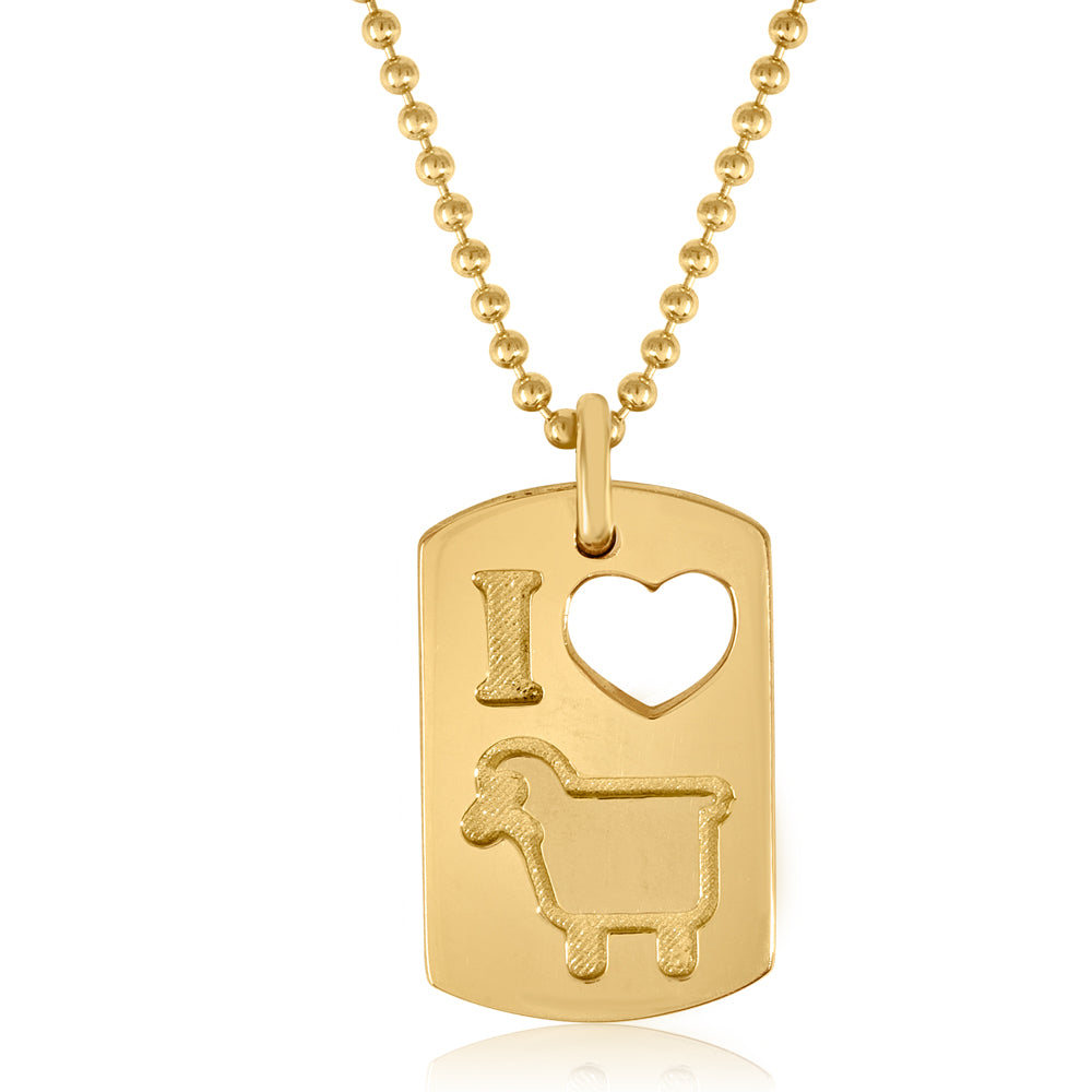 Small 18K Yellow Gold 'I Love Ewe' Lambtag