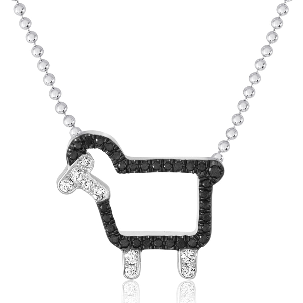 "*Sterling Silver ""Johnny- The Black Sheep"" Necklace in Black Diamonds"