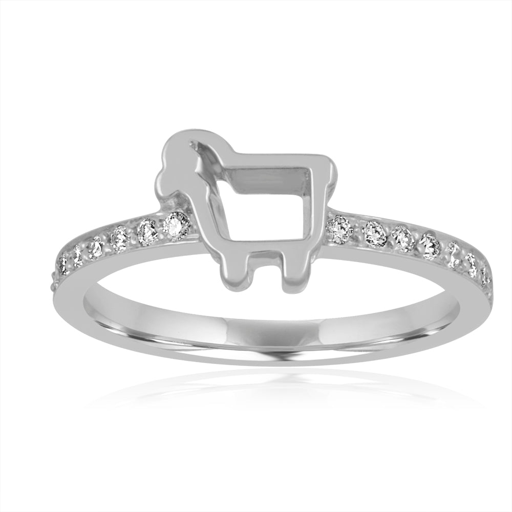 Mini Pave Lamb Ring in White Gold