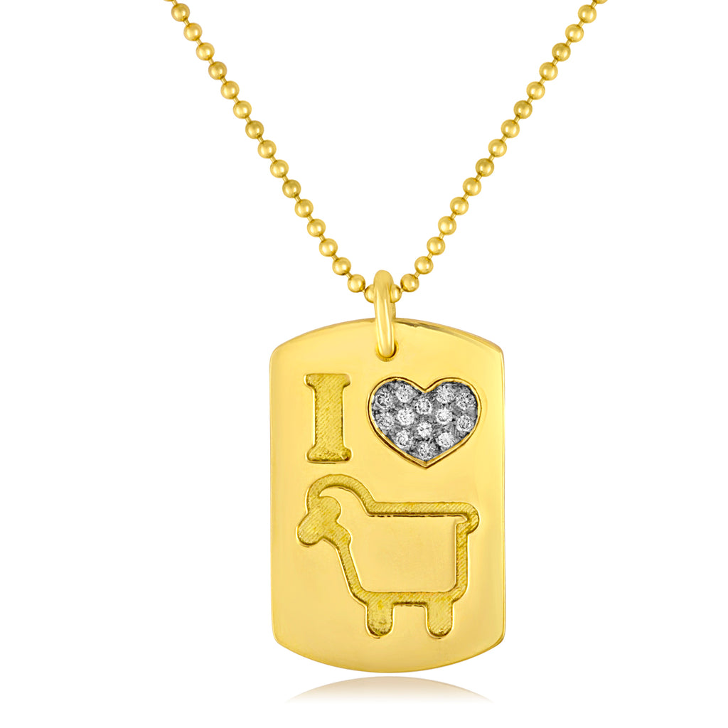 Large 18K Yellow Gold 'I Love Ewe' Lambtag