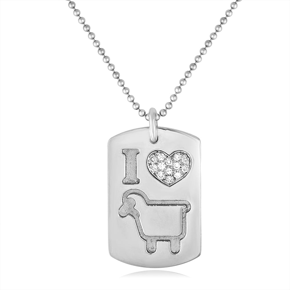 "Large Sterling Silver ""I Love Ewe"" Lambtag"