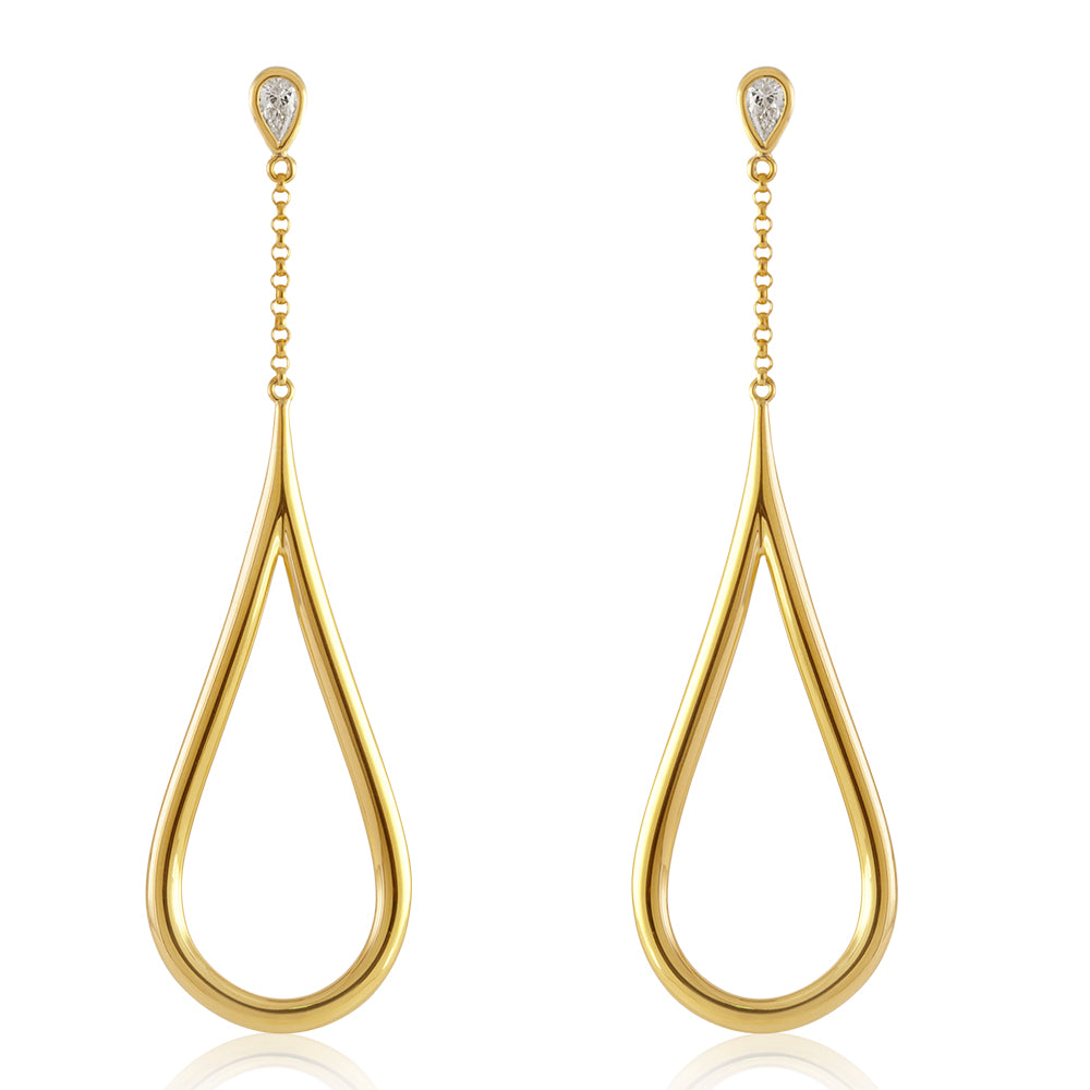 18K Yellow Gold Teardrop Glamour Earrings