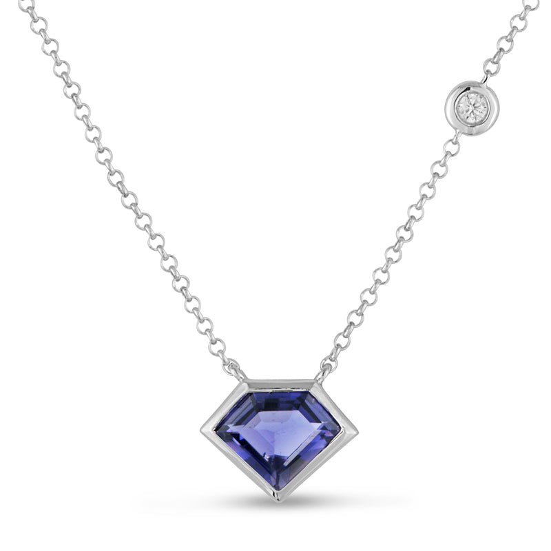14K Gold Super Mini Necklace with Flying Diamond in Iolite
