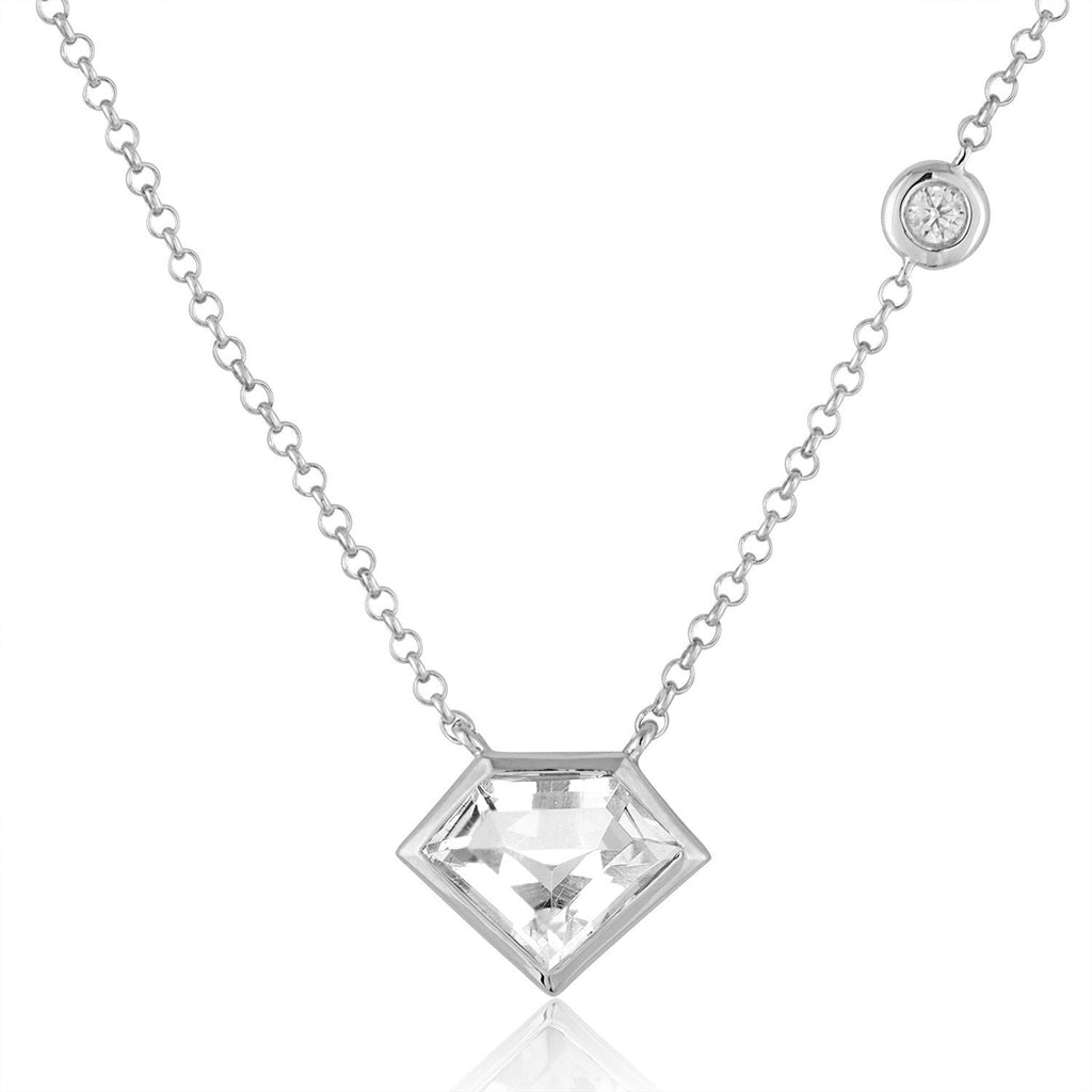 Sterling Silver Super Mini Necklace with Flying Diamond