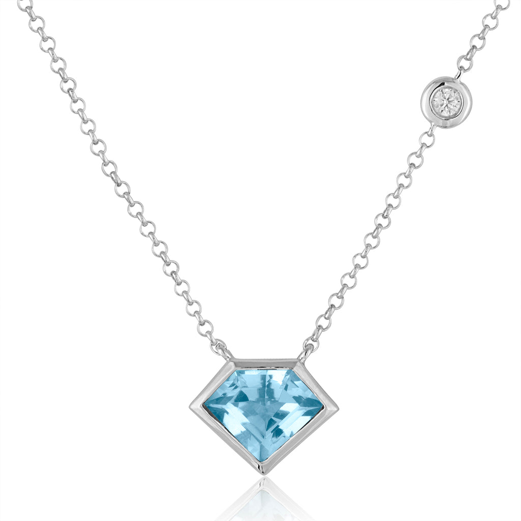 *Sterling Silver Super Mini Necklace with Flying Diamond