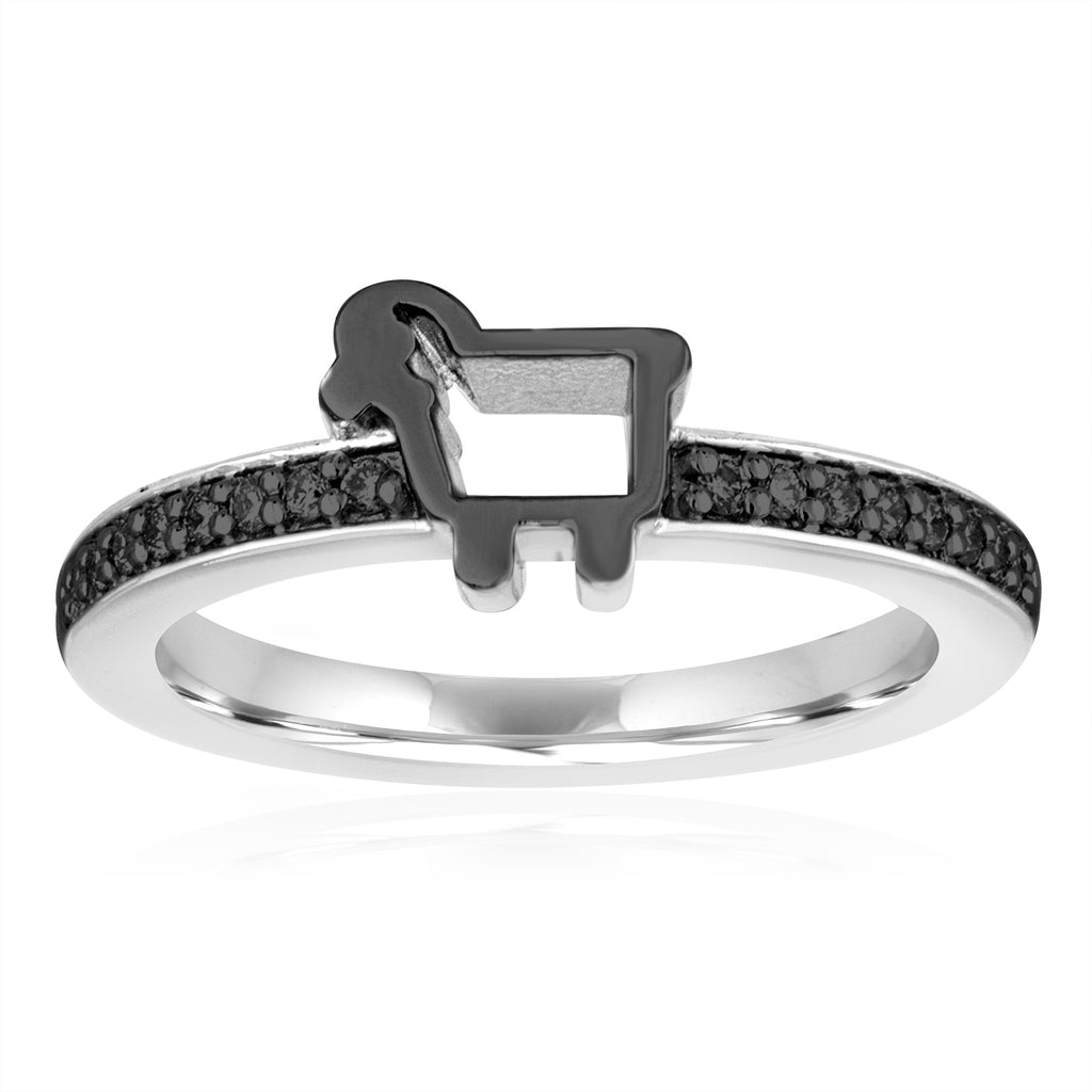 Sterling Silver Pavé Lamb Logo Ring with Black Diamonds