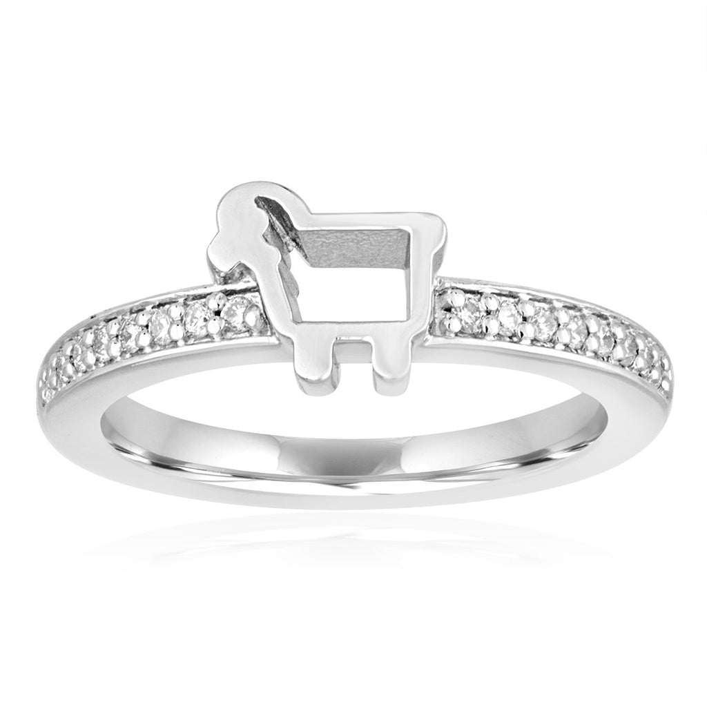 *Sterling Pavé Lamb Logo Ring