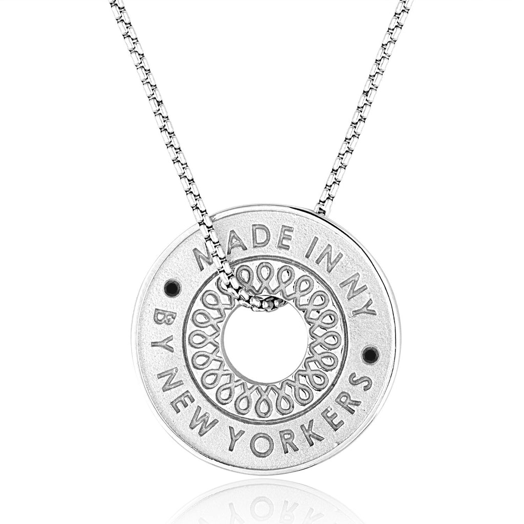 "*Sterling Silver ""Free to Roam"" Subway Token Necklace"